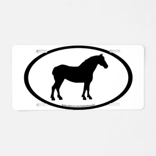 Draft Horse Oval Aluminum License Plate