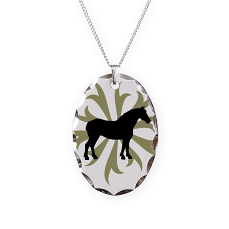 Draft Horse Sage Tribal Necklace Oval Charm