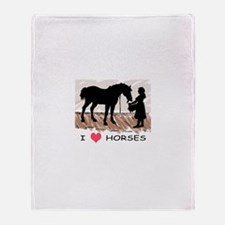 Horse & Girl (version w/ colo Throw Blanket
