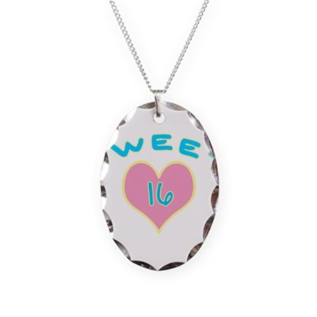 Blue Heart Sweet 16 Necklace Oval Charm