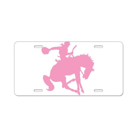 Pink Bronc Cowboy Aluminum License Plate