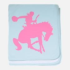 Pink Bronc Cowboy baby blanket