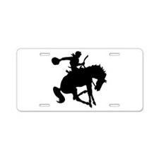 Bucking Bronc Cowboy Aluminum License Plate