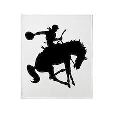 Bucking Bronc Cowboy Throw Blanket