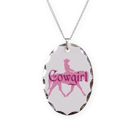 Pink Cowgirl w/ Text Necklace Oval Charm