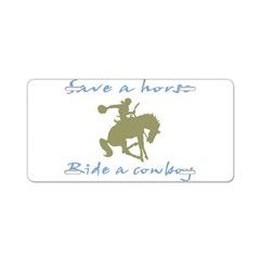 Ride A Cowboy (green/blue) Aluminum License Plate