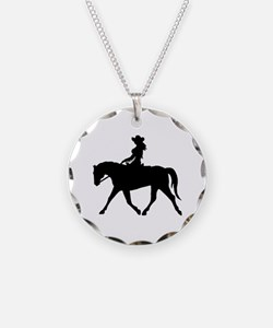 Cute Cowgirl on Horse Necklace