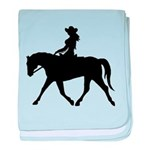 Cute Cowgirl on Horse baby blanket