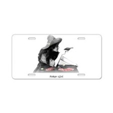 poker girl Aluminum License Plate