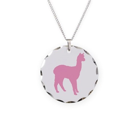 pink standing alpaca Necklace Circle Charm