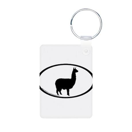 alpaca oval Aluminum Photo Keychain
