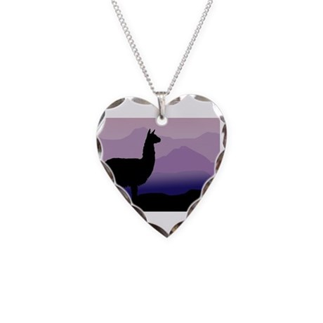 alpaca purple mountains Necklace Heart Charm
