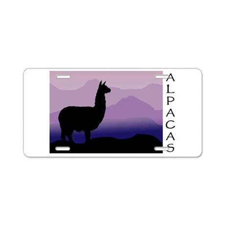 alpaca purple mountains Aluminum License Plate