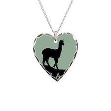 Alpaca Black on Mint Necklace