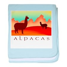 alpacas / mountains baby blanket