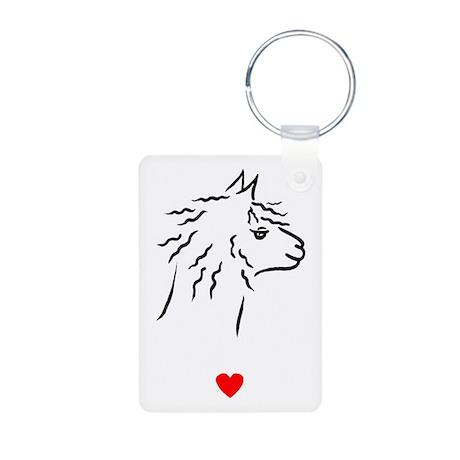 Alpaca Heart Aluminum Photo Keychain