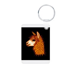 Alpaca (on black) Keychains