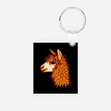 Alpaca (on black) Keychains