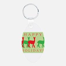Happy Holidays Alpaca Keychains