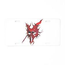 Red Horned Dragon Mask Aluminum License Plate