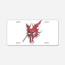 Red Horned Dragon Mask Aluminum License Plate