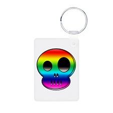 Little buddy rainbow skull Aluminum Photo Keychain