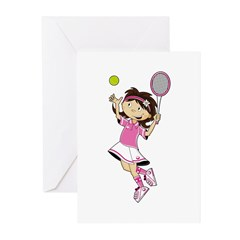 Cute Little Tennis Girl Greeting Cards (Pk of 20)