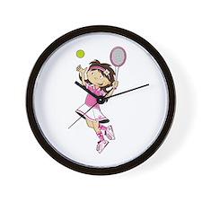 Cute Little Tennis Girl Wall Clock