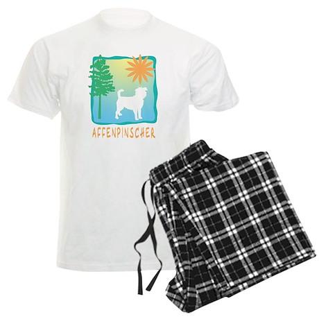 Affenpinscher, Tree & Sun Men's Light Pajamas