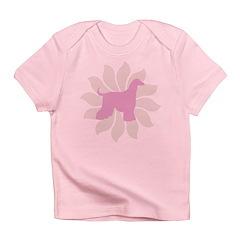 Pink Flower Afghan Hound Infant T-Shirt