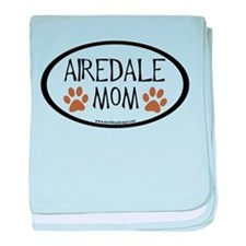 Airedale Mom Oval baby blanket