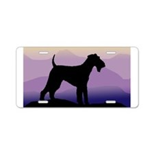 Unique Airedale terrier art Aluminum License Plate