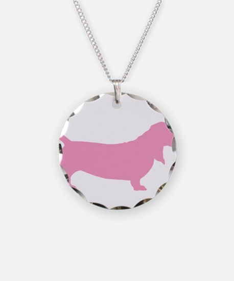 Pink Basset Hound Necklace