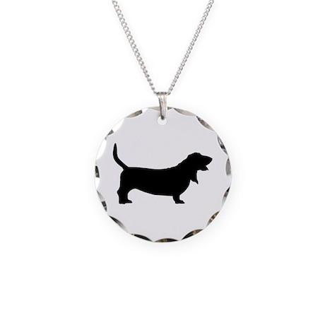 Basset Hound Basic Necklace Circle Charm