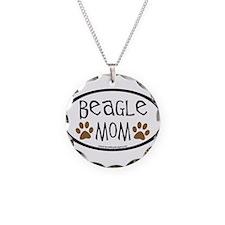 Beagle Mom Oval Necklace Circle Charm