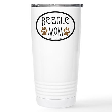 Beagle Mom Oval Stainless Steel Travel Mug