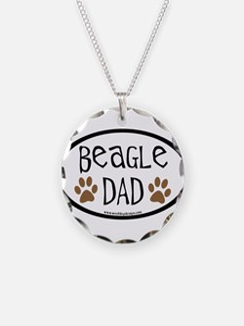Beagle Dad Oval Necklace