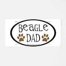 Beagle Dad Oval Aluminum License Plate