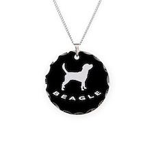 b&w beagle dog Necklace Circle Charm