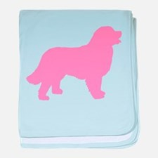 Pink Bernese Mt. Dog baby blanket
