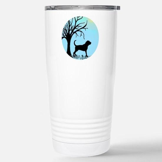 Tree & Bloodhound Dog Stainless Steel Travel Mug