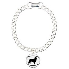 Border Collie Oval Charm Bracelet, One Charm