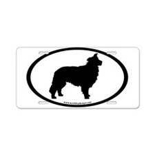 Border Collie Oval Aluminum License Plate