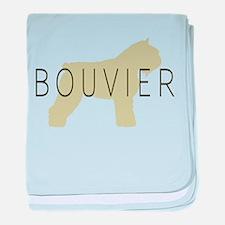 Bouvier Dog Sage w/ Text baby blanket