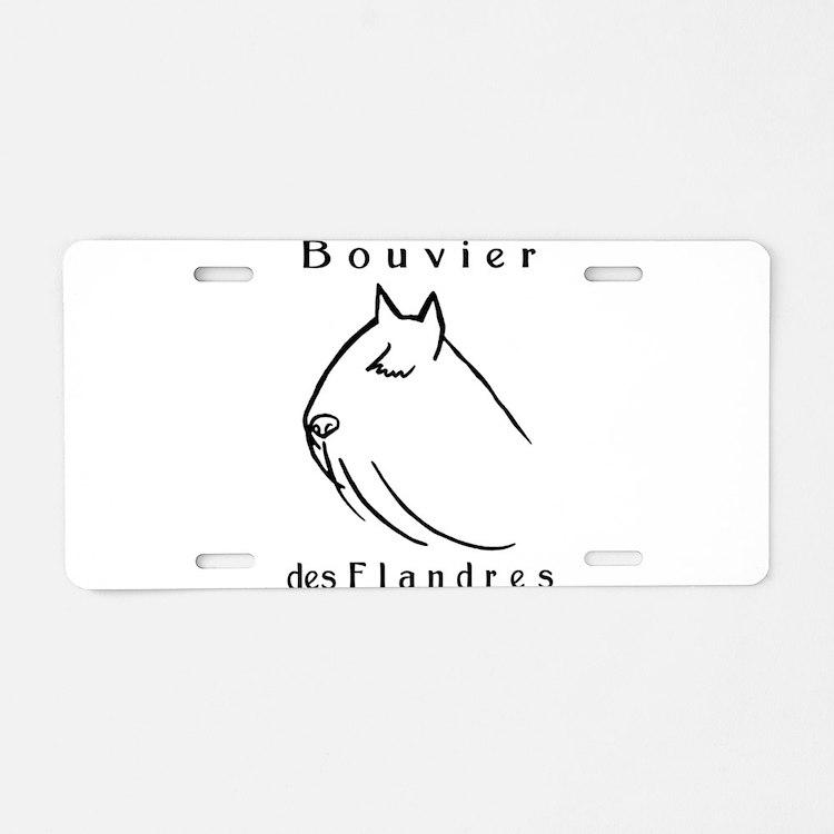 Bouvier Head Sketch w/ Text Aluminum License Plate
