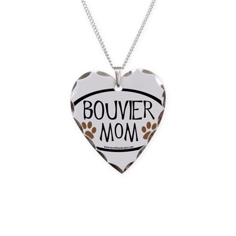 Bouvier Mom Oval Necklace Heart Charm