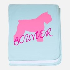 Pink Bouvier With Text baby blanket