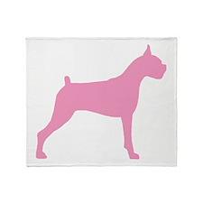 Pink Boxer Dog Throw Blanket