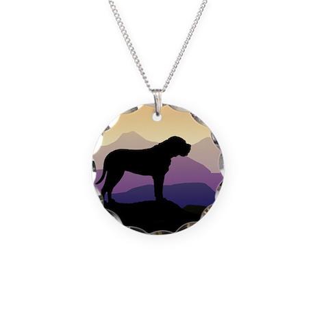 Purple Mountains Bullmastiff Necklace Circle Charm