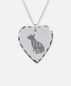 Bull Terrier Oval w/Text Necklace Heart Charm